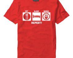 Eat Sleep Beard Repeat White On Red T-Shirt - Eat,Sleep,Beard Repeat- Gift Christmas Present