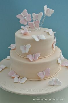 Butterfly christening cake by My Sweethearts Bakery l Lilia, via Flickr