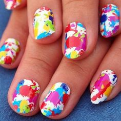 These cute nails are so much fun to do! First paint your nails white then splatter paint them with nail polish! Then you can use nail polish remover to take the extra paint off around your nails!
