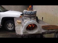 maybe make a small one with cans and cover with concrete, use as decorations in  garden and will be utilitarian as well.  Christmas gifts, even? Small Rocket stove for cooking (decorative) Part 1 - YouTube