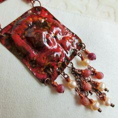unique copper pendant boho, gem beads, pearls, amulet, necklace, Kupfer Amulett, Achat, Perlen