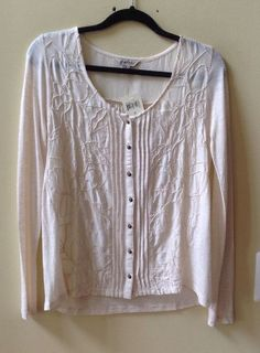 NWT LUCKY BRAND WOMEN'S IVORY FLORAL RAYON LONG SLEEVE BLOUSE Sz S-$69.50 #LuckyBrand #Blouse