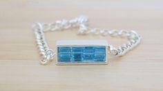 Blue Crystal and Silver Bracelet - Minimal  Modern Everyday Jewelry - Handcrafted Bracelet - Fashion Bracelet - Chain Bracelet- Gift for Her by IvanRoseCreations on Etsy
