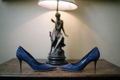 Vintage and blue velvet heels