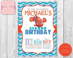 Finding Nemo Birthday Invitation DIY Digital Printable Party