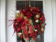 Christmas Door Wreath Christmas Wreath by KathysWreathShop on Etsy, $89.99