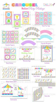 Carousel Birthday Party Medium Collection Personalized  by marlicg, $25.50