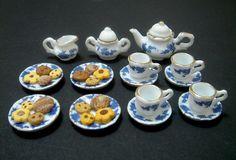 Dollhouse Miniature Tea Set & Cookies, Blue, Flower, Porcelain, Tea cup, Tea pot, Dolls, High Tea, Pastry, Party, Fake Food, Plates