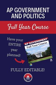 This full year course for AP Government and Politics has been refined over 12 years of teaching.  Make your teaching life less stressful this year by purchasing this fully editable product with everything you need to teach high school AP Government. #apgov #politics #education #NotAnotherHistoryTeacher