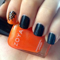 walking in a spider web Nails Bright orange and black halloween nails