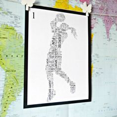 A gorgeous and different Personalised print of a NETBALL Player available in 3 variations. They are created entirely with YOUR words to make