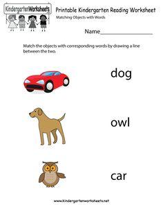 Printable Kindergarten Reading Worksheet
