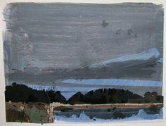 Trout Pond Overcast Original Autumn Landscape Collage by Paintbox