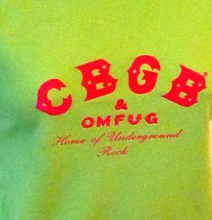 ☛SOLD at paroliro on ETSY to East Hampton ~ New York City rock n roll landmark CBGB chartreuse with pink lettering vintage t shirt.  Recycled and eco friendly fashion statement.☚
