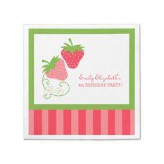 Strawberry Pink and Green Birthday Napkin