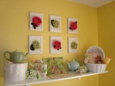 Design Dazzle: DIY: Silk Flower Wall Art for Arya's room Flower Picture Frames, Flower Frame, Flower Wall, Flower Diy, 3d Wall Decor, Diy Wall Art, Diy Art, Diy Silk Flower Arrangements, 3d Wanddekor