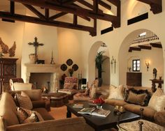 An Amazing Room. Love the archways, internal balconies and wooden beams.
