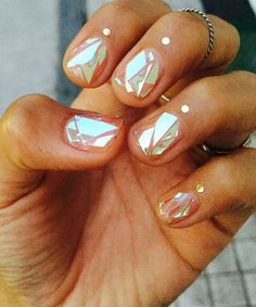 Shattered Glass Nail Manicure Trends | Find out why Korean girls are going crazy for the shattered-glass nail trend. #refinery29 http://www.refinery29.com/shattered-glass-nail-trends