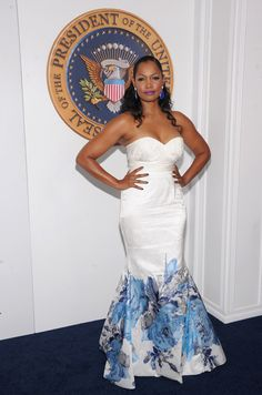 Garcelle Beauvais Memeka by Gustavo Cadile SPring 2013 dress Celebrity Beauty, Celebrity Style, White House Down, Garcelle Beauvais, Caribbean Queen, Strapless Dress Formal, Formal Dresses, Floral Gown, Celebs