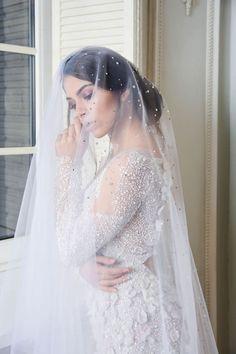 Chapel Wedding Veil with Swarovski Crystals, Chapel Bridal Veil with blusher, Chapel Length Veil, Chapel Length Wedding Veil