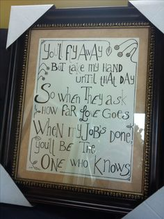 My goddaughter's baptism gift. The lyrics are from a Dar Williams song I sang at her baptism.