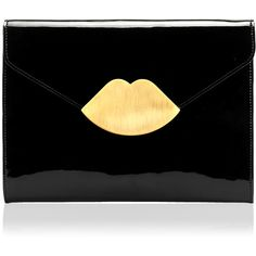 Black Patent Leather Small Envelope Clutch found on Polyvore