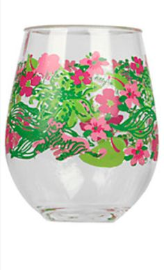 colorful floral stemless wine glasses