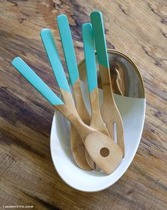 Faux Dipped Wooden Spoons