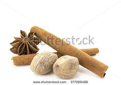 Anise, cloves and cinnamon stick isolated on white