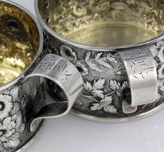 Sterling christening cups for twins ... engraved: Mabel, Ethel