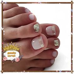 Nail art Christmas - the festive spirit on the nails. Over 70 creative ideas and tutorials - My Nails Pedicure Nail Designs, Pedicure Nail Art, Toe Nail Designs, Toe Nail Art, Diy Nails, Jamberry Pedicure, White Pedicure, Pedicure Ideas, Pretty Toe Nails