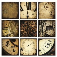 what do you think Nikki? Nine-piece wall art set with antiqued clock motif and working clock mechanism.     Product:  9 Piece wall art set    Cons...