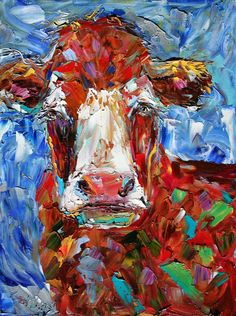 Original oil painting ABSTRACT MODERN COW Bovine by Karensfineart