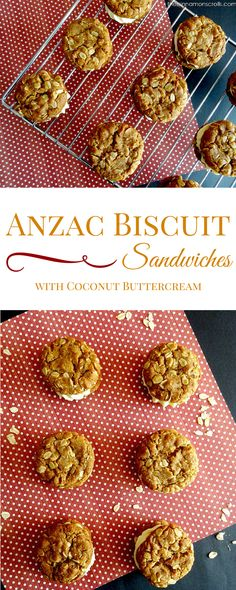 These traditional Anzac biscuits are spiked with cinnamon and browned butter and then sandwiched together with a dense layer of fluffy, creamy coconut buttercream frosting. Sweet, crunchy, and slightly nutty, you'll have trouble stopping at just one!