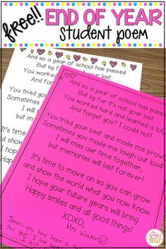 Need an end of year gift idea? This free printable is a perfect end of year student gift from the teacher. Children will treasure the end of year poem from their teacher for years to come! - Need an end of year student gift idea? Teacher Poems, Student Teacher Gifts, Letter To Teacher, Parent Letters, Poems For Teachers, Teacher Toolkit, Teachers Corner, Graduation Poems, Pre K Graduation