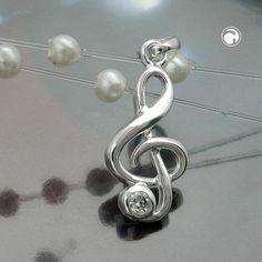 Anhänger, Notenschlüssel, Silber 925  Violinschlüssel mit Zirkonia