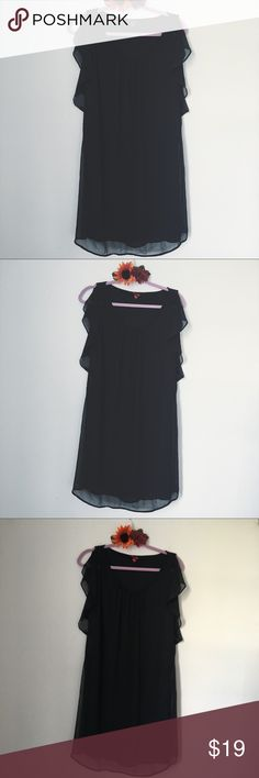 MERONA BLACK SHEER DETAIL DRESS SZ M BUST: 20 inches. LENGTH: 41 inches. Mossimo Supply Co Dresses