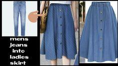 DIY:Convert Old Jeans into skirt Diy Jeans, Diy Shorts, Sewing Pants, Sewing Clothes, Diy Clothes, Fashion Fabric, Diy Fashion, Jean Diy, Remake Clothes