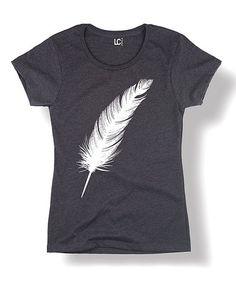 Look at this #zulilyfind! Heather Charcoal Feather Tee #zulilyfinds