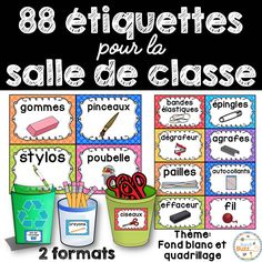 Classroom Supply Labels French - étiquettes pour la c Teaching Tools, Teaching Resources, French Classroom Decor, French Flashcards, Supply Labels, Kindergarten Language Arts, French Education, Core French, French School