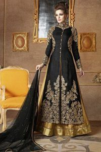 Buy Black Silk Jacket Style Lehenga Suit , UK Designer Outlet - Buy Now only £119.99
