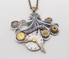 Steampunk - Steampunk octopus necklace pendant. Steampunk jewelry. by slotzkin