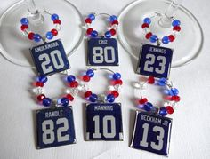 New York Giants Wine Charm Set by TaylenandKatie on Etsy