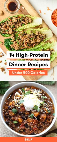 These high-protein dinner ideas are healthy and easy to make! These vegetarian lettuce wraps filled with tofu and mushrooms are filling and low carb! If you're looking for something meatier, go for the slow cooker turkey, black bean, and sweet potato quinoa chili for a warming bowl this winter.