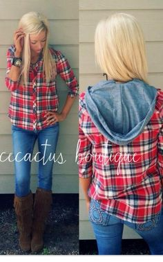 Love this! The flannel hoodie is perfect and I love the boots with tassels!