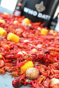 Traditional Crawfish Boil. I wish my wife wasn't allergic to shell fish. Its the best tasting and the most fun food there is...