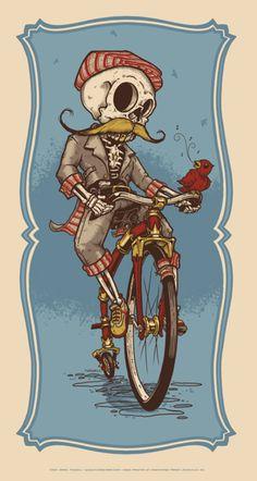 The Gentleman Cyclist by Jeral Tidwell. Kinda reminds me of Grim Fandango.....