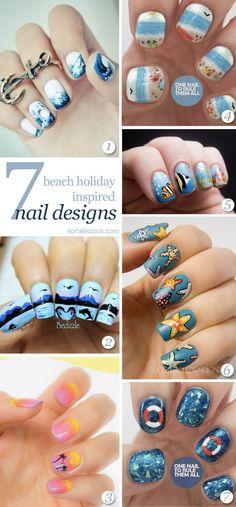 Beach Nails - the best 7 nail designs! click for details. #nailart Beachy Nail Designs, Holiday Nail Designs, Cute Nail Designs, Beach Holiday Nails, Beach Nails, Diy Nails, Cute Nails, Pretty Nails, Nail Art Kawaii