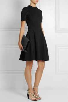 NWT ERDEM Designer Black Armel Chic Lace Trim Stretch LBD Classic Flare Dress 10 #ERDEM #WigglePencil #LittleBlackDress