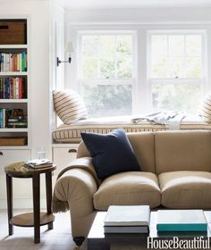 Shaker Style Cottage House Tour - Striped Window Seat Cushion